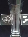 Wedding ring & hearts stencils for etching on glass     Marriage present